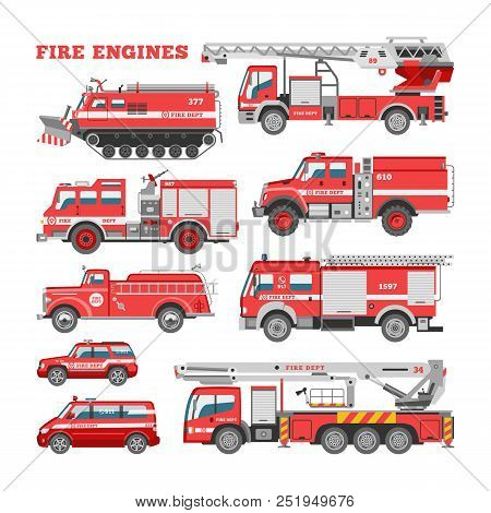 Fire Engine Vector Firefighting Emergency Vehicle Or Red Firetruck With Firehose And Ladder Illustra