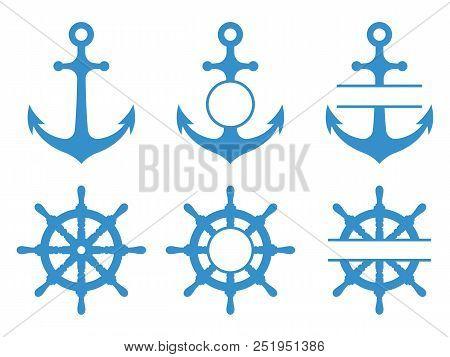 Handwheel And Anchor Icons. Sea Ship. Vector Monograms Set Isolated