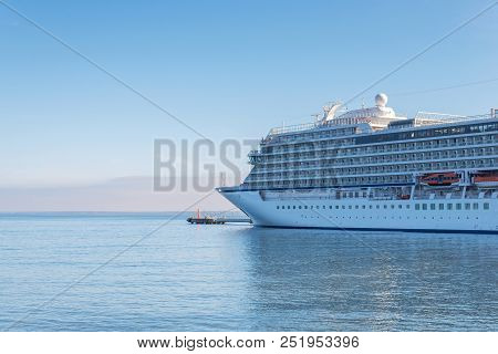 Summer Vacation Concept. Cruise Ship In Port