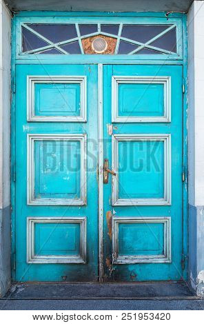 Old Wooden Turquoise Door With Beautiful Decoration