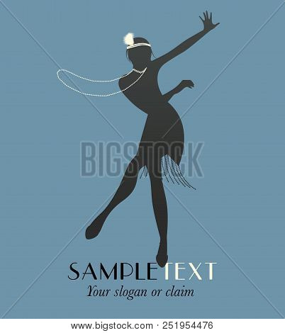 Silhouette Of Funny Flapper Girl Silhouette Dancing Charleston