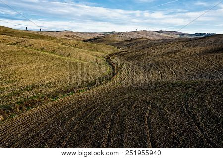 Valey Of Tuscany In Autumn Used For Agriculture