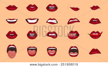Cartoon Icons Big Set Isolated. Cute Mouth Expressions Facial Gestures Lips Sadness Rapture Disappoi
