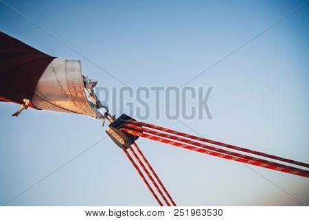 Sailboat Winch, Sail And Nautical Rope Yacht Detail. Yachting, Marine Background