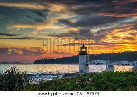 Sunset Sky Over Marshall Point Lighthouse - Port Clyde, Maine, Usa