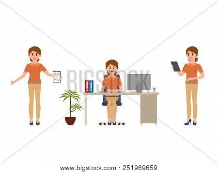 Young Office Female Worker Writing Notes Cartoon Character. Happy Lady Clerk Sitting, Reading, Smili