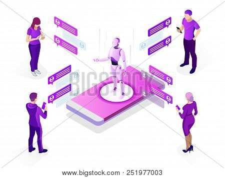 Isometric Artificial Intelligence Concept. Ai And Business Iot Concept. Man Communicating With Chatb