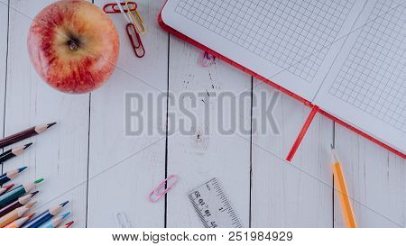 School Supplies , Stationery, School Concept, White Wooden Background, Creative Chaos, Space For Tex