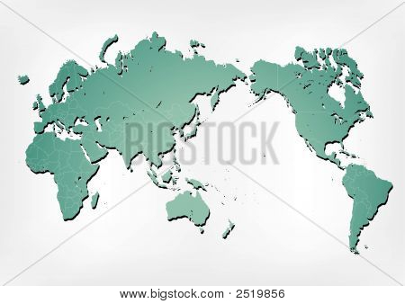 World Map Illustration With Shadows