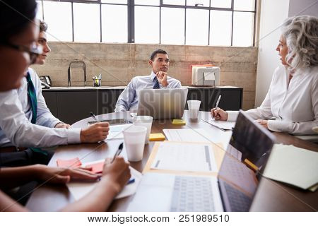 Business team brainstorming in a meeting room