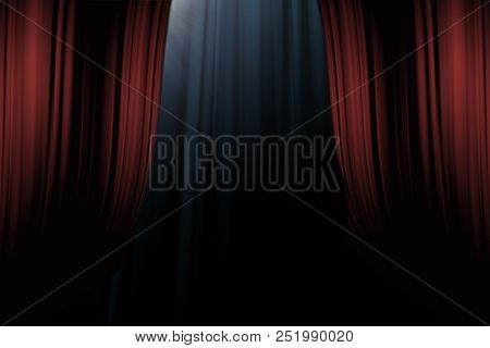 Red Curtains On Stage In Theater For Drama Background