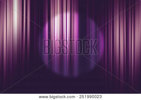 Spotlight On Purple Movie Theater Curtains Background