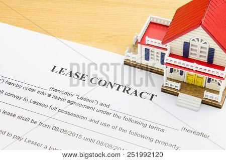 Home Lease Contract Or House Lease Contract Agreement. Concept About Home Or House Rental Agreement