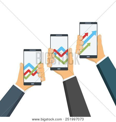 Businessmen Hold A Gadgets, Phones With Statistical Graphs On The Screen. Profit, Partnership Concep