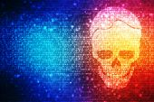 Concept of cyber crime, internet piracy and hacking, shape of skull combined with binary code poster
