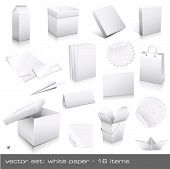 vector set: white paper - packaging and ci-dummies to place your design on, 16 pieces poster