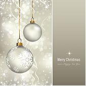 elegant christmas background with baubles (background behind the panel is complete) poster
