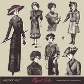 vector set: elegant vintage ladies (and girls) - variety of retro fashion illustrations and portraits poster