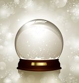 empty snowglobe against a bright defocused background with glittering lights and snowflakes - customize by inserting your own object! poster