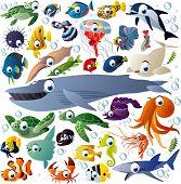 Extra big vector set of sea animals poster