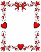 3 dimensional graphic for Valentines day card frame border invitation or background poster