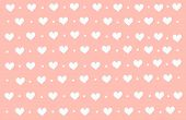Abstract background with white heart and polka dot by hand drawn illustration doodle art style. White heart on pastel pink wallpaper with copy space in minimal style and look so sweet for love theme on Valentine day. White heart pattern on pink background poster