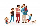 Big family with many children. Stressed and tired parents or exhausted mom and dad and nasty kids isolated on white background. Problem of tiring and stressful parenting. Cartoon vector illustration poster