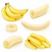 Bananas collection on a white background. With clipping path. poster