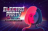 Electro party music poster template. Violet neon fashion girl. 80s Retro Sci-Fi Background with Sunrise or Sunset. Vector futuristic synth retro wave illustration in 1980s posters style poster