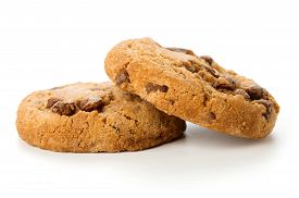 Two Fresh Cookies With Chocolate Isolated On White Background