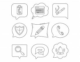 Chat Speech Bubbles, Bell And Pencil Icons. Phone Call, Smoking And Vacation Calendar Linear Signs.