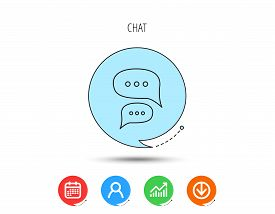 Chat Icon. Comment Message Sign. Dialog Speech Bubble Symbol. Calendar, User And Business Chart, Dow