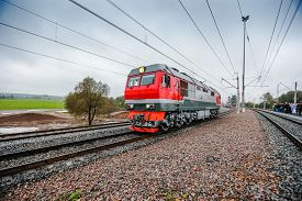 Modern Russian Locomotive Goes In Country Area