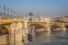 The Beautiful Bridge Over The Donau In Budapest, Hungary, Europe.