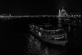 Bridge And Ship In Budapest By Night