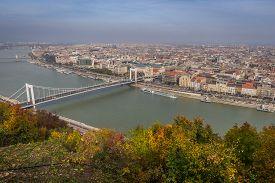 Skyview Of Budapest With Bridge Over Danube