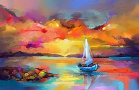 Colorful Oil Painting On Canvas Texture. Impressionism Image Of Seascape Paintings With Sunlight Bac