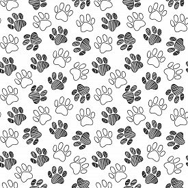 Monochrome Black And White Dog Cat Pet Animal Paw Foot Hand Drawn Ink Sketch Seamless Pattern Textur
