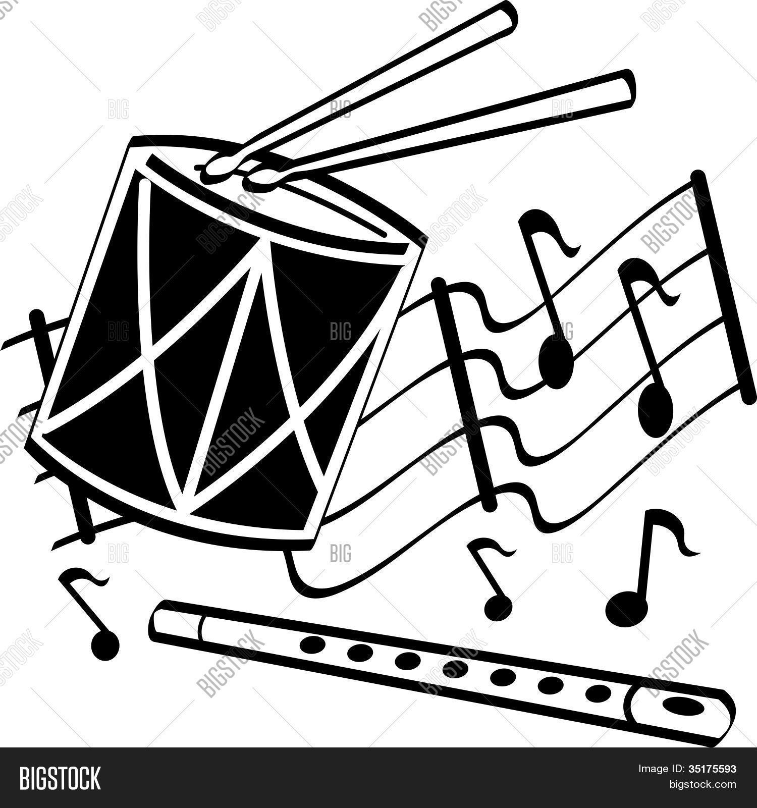 Drums Flute Musical Notes Clip Art