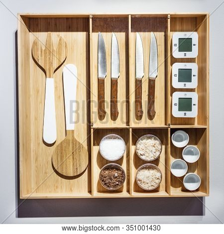 Wooden Organizer Box With Cutlery. Modern Organizer Drawer For Cutlery Top View.