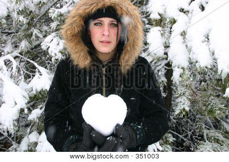 Sad Girl Holding Heart