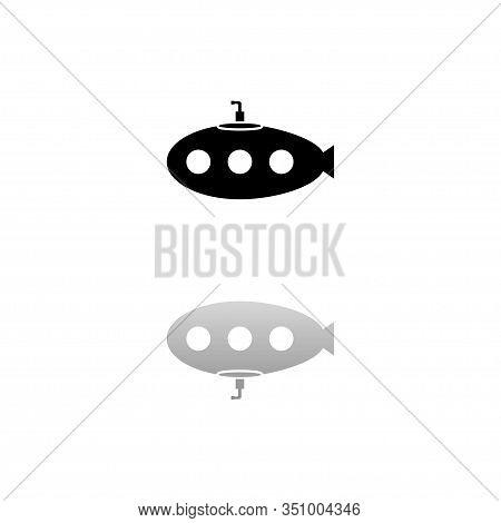 Submarine With Periscope. Black Symbol On White Background. Simple Illustration. Flat Vector Icon. M