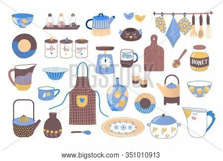 Decorative Cookware Utensils For Cooking, Collection Of Ceramic Kitchen Crockery Vector Illustration