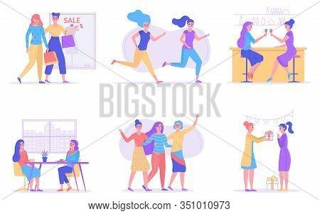 Girl Friendship, Women Friends Together Vector Illustration. Girlfriends Spend Time Together, Walkin