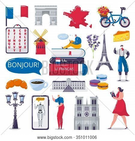 Learn French Foreign Language Vector Illustrations Set For Language School. Bubble With Word Bonjour