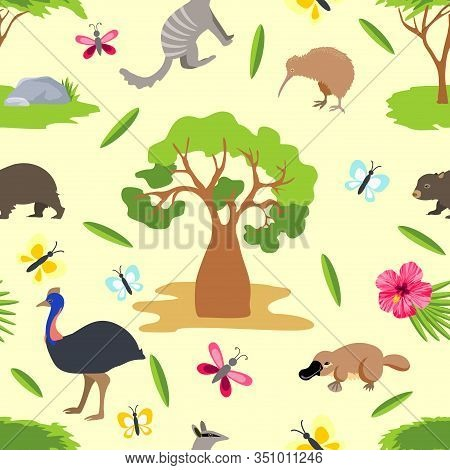 Australian Animal Background. Linear Colored Seamless Pattern Of Vector Animals Isolated On White Ba