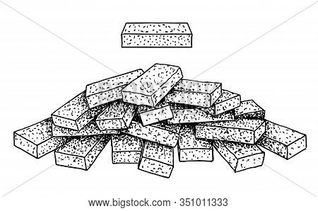 Stack Of Brick Sketch. Group Of Loose Bricks On White Background. Construction Material Brick On Tra