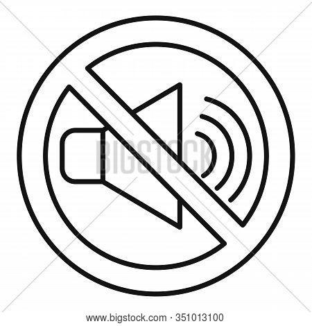 No Sound Speaker Icon. Outline No Sound Speaker Vector Icon For Web Design Isolated On White Backgro