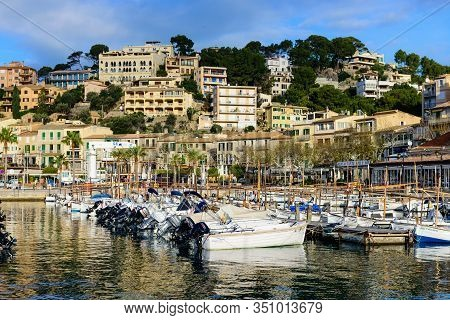 Mallorca Island, Balearic Islands, Spain - January 4, 2019: Picturesque Harbor With Fishing Boats In