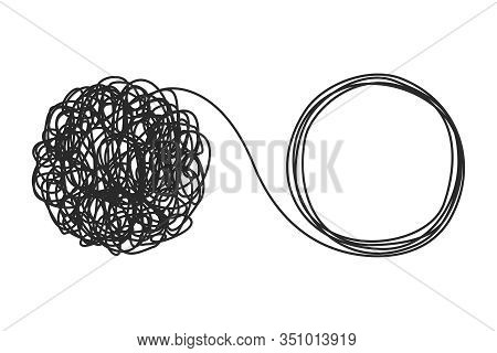 Unraveling Tangled Tangle. Psychotherapy Concept. Metaphor Of Problem Solving, Chaos And Mess, Diffi
